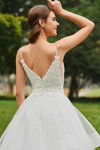Vestido de novia Escote de Tirantes Espaguetis Natural tul Cola Capilla - Página 6