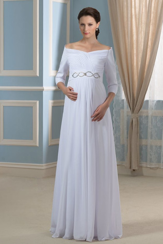 Vestido de novia Elegante Cola Barriba Playa Escote con Hombros caídos - Página 1