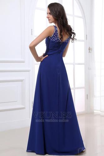 Vestido de noche azul real descubierto Plisado fantasía Escote en V - Página 4