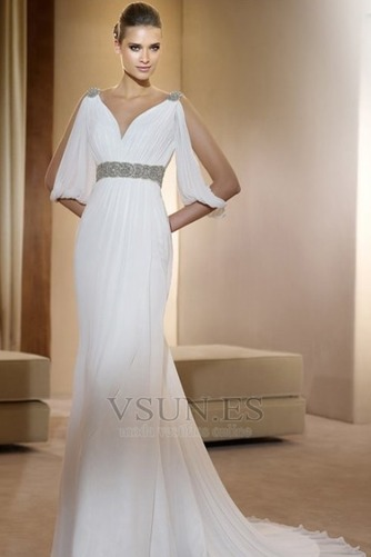 Vestido de novia estilo griego Con velo Abalorio Blanco Moderno Otoño - Página 1