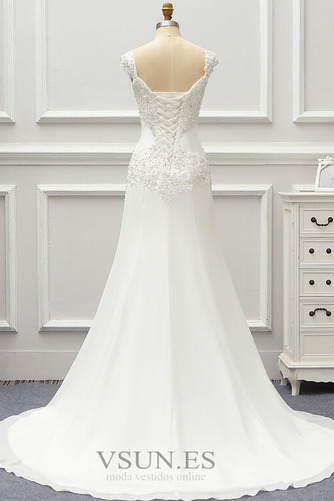 Vestido de novia Gasa Cordón Capa de encaje Natural Escote Cuadrado - Página 2