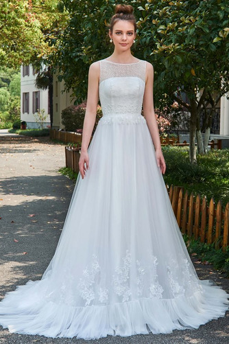 Vestido de novia Natural Barco largo Pura espalda Encaje Reloj de Arena - Página 1