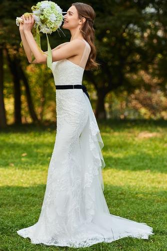 Vestido de novia Moderno Sin mangas Natural Un sólo hombro Lazos Encaje - Página 3