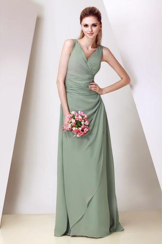 Vestido de dama de honor Corte-A Triángulo Invertido Elegante Cremallera Escote en V - Página 1