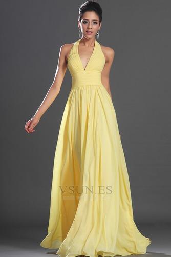 Vestido de noche primavera Espalda medio descubierto sexy Amarillo claro - Página 1