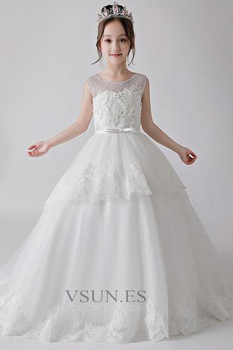 Vestido niña ceremonia Lazos Corte-A largo Formal Verano Natural - Página 3