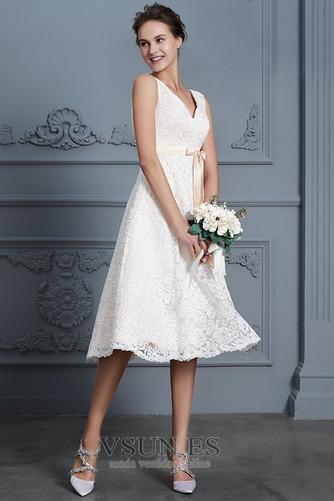 Vestido de novia Playa Natural Falta Escote en V Arco Acentuado Cremallera - Página 3