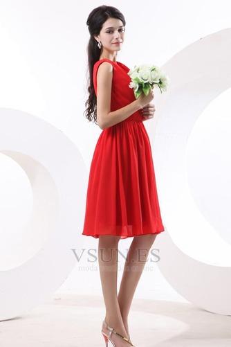Vestido de dama de honor Volantes Adorno Escote en V Rojo Oscilación Hasta la Rodilla - Página 3