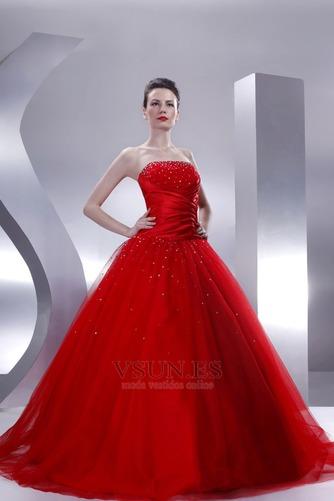 Vestido de quinceañeras Sin tirantes Rojo tul Invierno Cola Capilla Con lentejuelas - Página 2