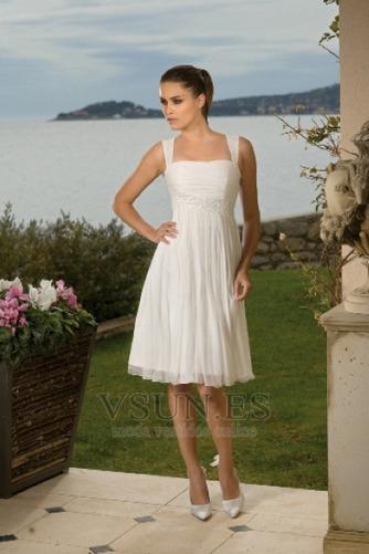 Vestido de novia Imperio Cintura Escote Cuadrado Verano Espalda medio descubierto - Página 1