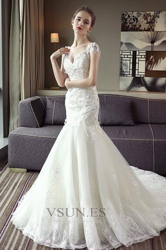 Vestido de novia Escote en V Sala Manga corta largo Cordón Encaje - Página 2