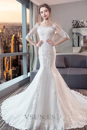 Vestido de novia Corte Sirena Espalda Descubierta Elegante Playa Capa de encaje - Página 3