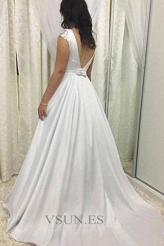 Vestido de novia Lazos Satén Arco Acentuado Joya Invierno largo - Página 2