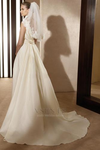 Vestido de novia vintage Diosa Barco Sin mangas Otoño Marfil - Página 2
