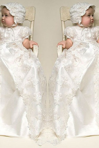 Vestido de Bautizo Joya Corte princesa Cola Barriba Recatada Imperio Cintura - Página 1