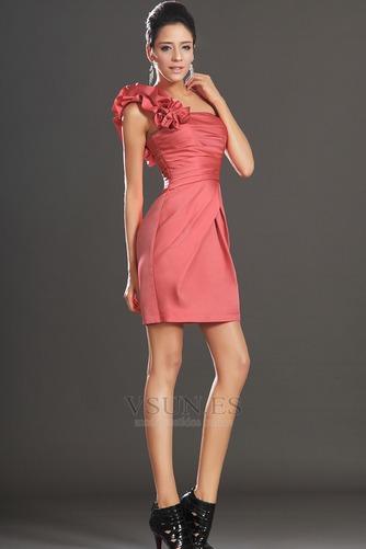 Vestido de cóctel Cremallera Blusa plisada Drapeado Lateal Corte Recto - Página 4
