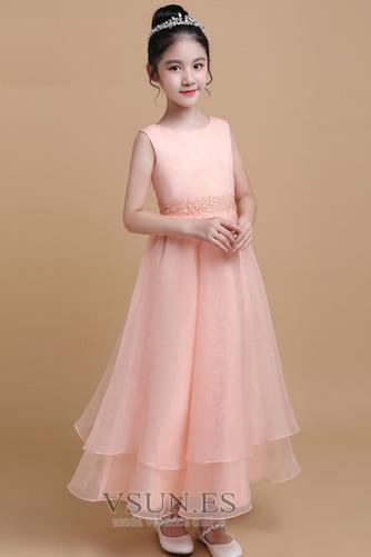 Vestido niña ceremonia Elegante Satén Cinturón de cuentas Escalonado Sin mangas - Página 3