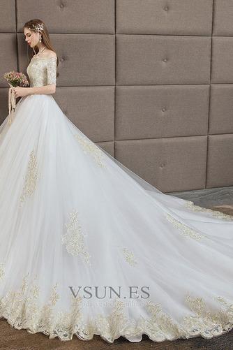 Vestido de novia Capa de encaje Corte-A Cordón Manga corta Natural Cola Catedral - Página 2