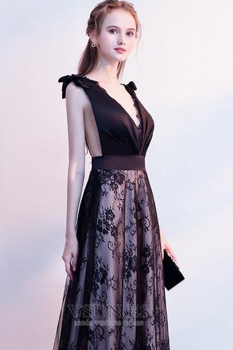 Vestido de fiesta Elegante Escote en V Sin mangas Capa de encaje Corte-A - Página 5