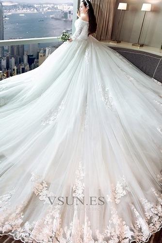 Vestido de novia Capa de encaje Apliques Triángulo Invertido largo Natural - Página 3