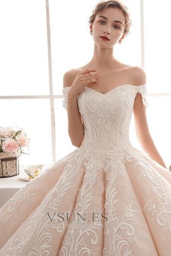 Vestido de novia Natural Corte-A Escote con Hombros caídos Pera Capa de encaje - Página 5