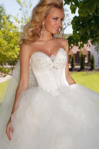 Vestido de novia Apliques Sala Con velo Escote Corazón Cintura Baja - Página 3