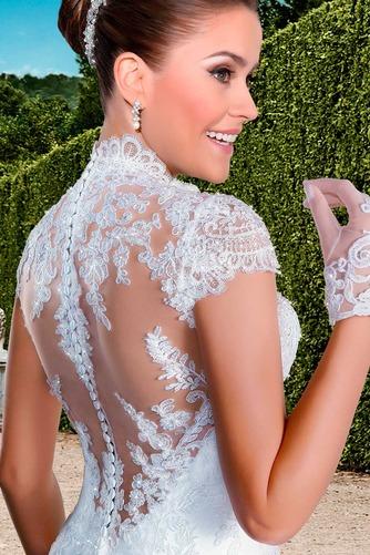 Vestido de novia Cola Capilla Cremallera Natural Encaje Apliques Queen Anne - Página 4