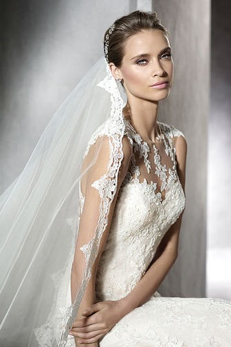 Vestido de novia Corte Sirena Apliques Encaje Otoño Cremallera Joya - Página 3