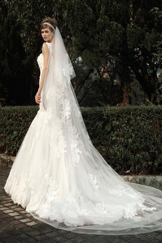 Vestido de novia Corte Sirena Encaje Cremallera Flores Natural Sin mangas - Página 3