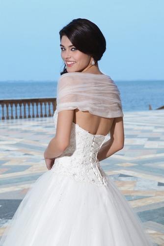 Vestido de novia Abalorio Playa Bola largo primavera Escote con Hombros caídos - Página 4