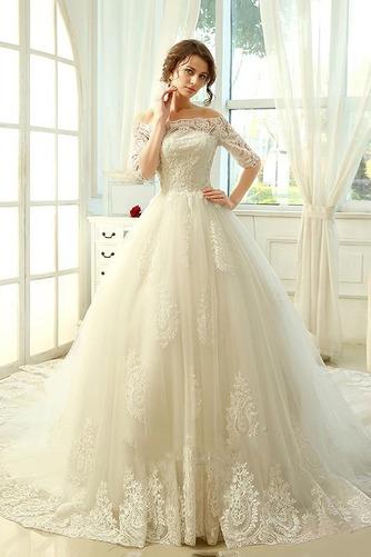 Vestido de novia Clasicos Mangas Illusion Otoño Cordón Recatada Corte princesa - Página 3