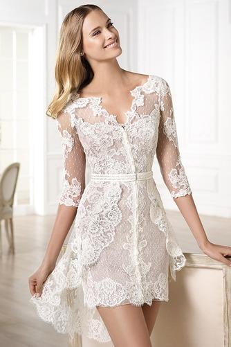 Vestido de novia Encaje Escote en V Natural Asimètrico tul Corto - Página 1