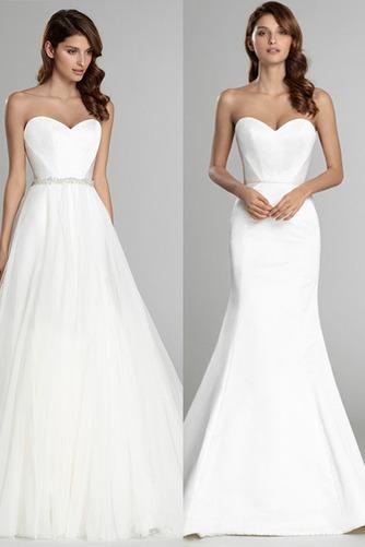 Vestido de novia Sin mangas largo Espalda Descubierta Natural Satén - Página 1