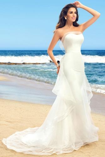 Vestido de novia Romántico Sin tirantes Verano Volante Satén Espalda Descubierta - Página 3