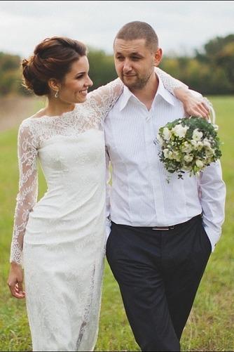 Vestido de novia Escote con cuello Alto Apertura Frontal Verano Manga larga - Página 1