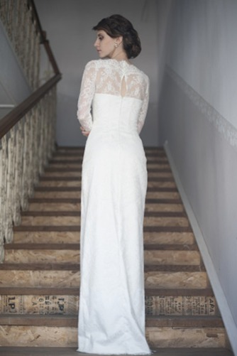Vestido de novia Escote con cuello Alto Apertura Frontal Verano Manga larga - Página 3