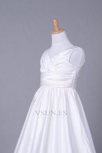 Vestido niña ceremonia Cola Capilla Blanco Invierno Sala Cremallera Blusa plisada - Página 5