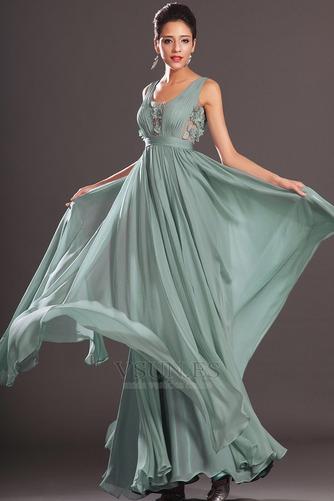 Vestido de noche Rosetón Acentuado Escote redondo Hasta el suelo Pura espalda - Página 3