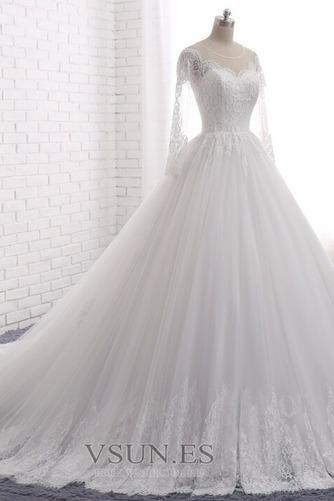 Vestido de novia Manga larga Joya Apliques Cremallera largo Corte-A - Página 3