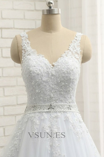 Vestido de novia Natural Escote en V Corte-A Falta Sin mangas largo - Página 6