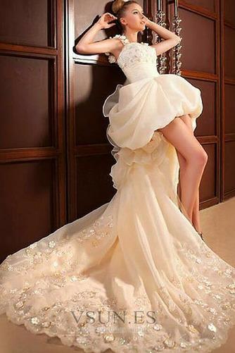 Vestido de novia Abalorio Sin mangas Tiras anchas Alto Bajo Cremallera - Página 7