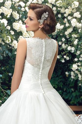 Vestido de novia Cola Capilla Cascada de volantes Organza Modesto Cremallera - Página 4