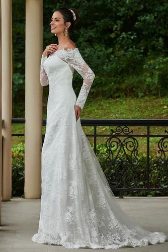 Vestido de novia vendimia Encaje Playa Alto cubierto Manga larga Natural - Página 3