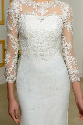 Vestido de novia Invierno Sin mangas Pura espalda Natural Capa de encaje - Página 4