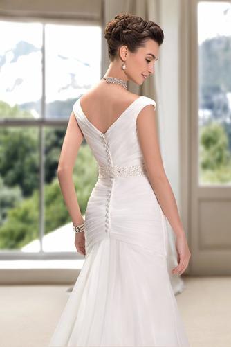 Vestido de novia Playa Cremallera Drapeado Pera Escote en V Corte Recto - Página 5