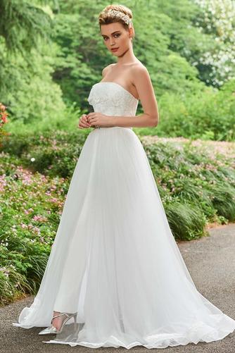 Vestido de novia Triángulo Invertido Otoño Sin tirantes Corte-A tul - Página 3