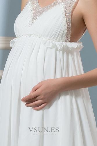 Vestido de novia Imperio primavera Escote en V Gasa Espalda Descubierta - Página 5