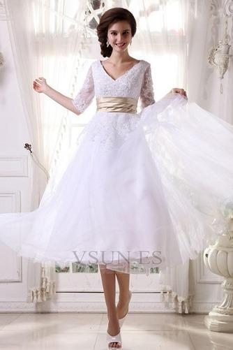 Vestido de novia Fuera de casa La mitad de manga Cremallera tul Natural - Página 1