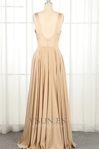 Vestido de dama de honor largo Espalda Descubierta Natural Escote en V Apertura Frontal - Página 5