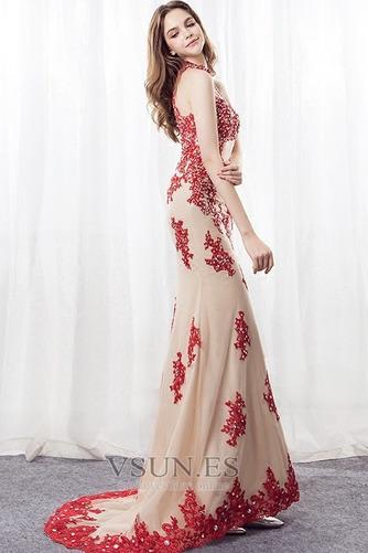 Vestido de noche Corte Sirena primavera Apliques Pera Escote con cuello Alto - Página 5